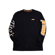 Front of black long sleeve with prince logo on left chest in orange, prince logo on left sleeve, and tito's logo on right sleeve