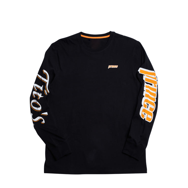 Front of black long sleeve with prince logo on left chest in orange, prince logo on left sleeve, and tito&