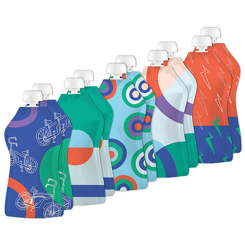 Squooshi: Bikes & Lightning (10 Large Reusable Food Pouches, 5oz)
