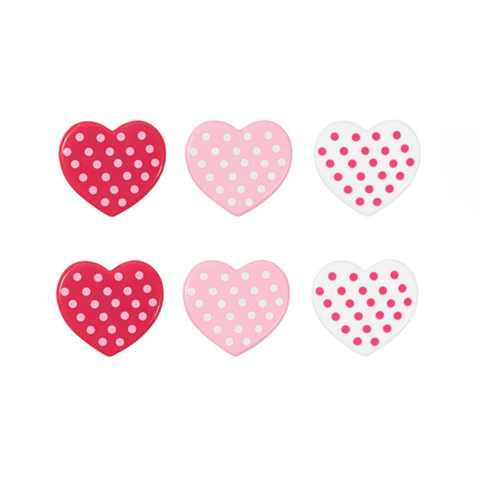 Polka Dot Hearts (Rings, 6Pk)