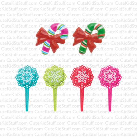Pink Snowflakes & Candy Canes (Rings & Picks, 6Pk)