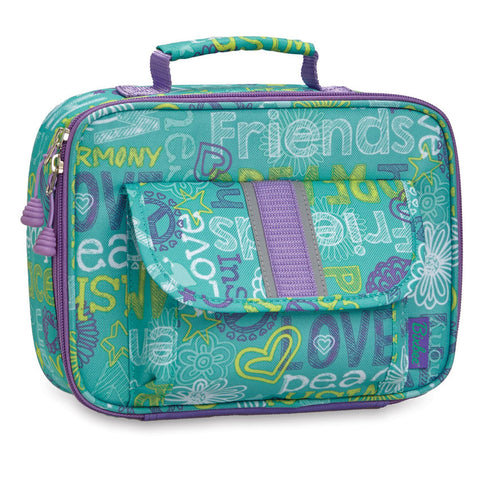 "Bixbee ""Hope Peace Love"" Kids Insulated Lunchbox - Teal"