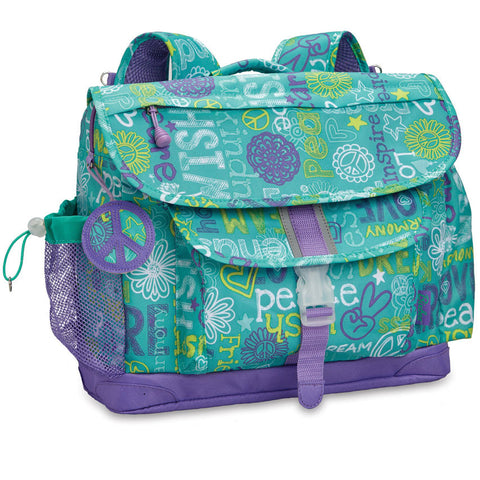 "Bixbee ""Hope Peace Love"" Kids Backpack - Teal"