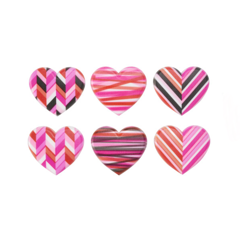 Fresh Geometric Hearts (Rings, 6Pk)
