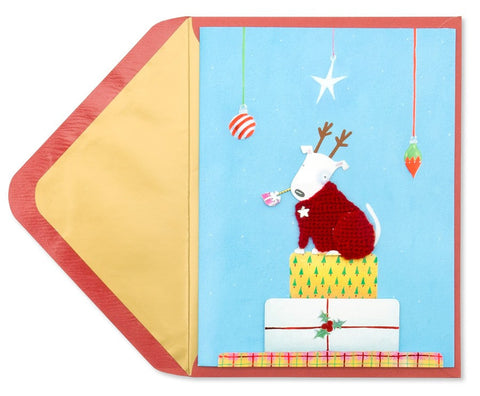 PAPYRUS Dog in Holiday Sweater Greeting Card