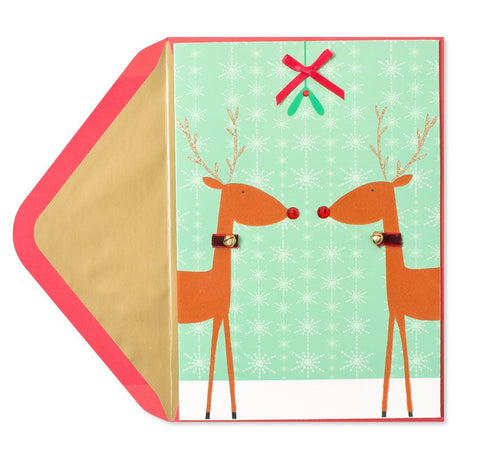 Reindeer Under Mistletoe: PAPYRUS Greeting Card
