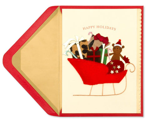 Handmade Sled with Presents: PAPYRUS Greeting Card
