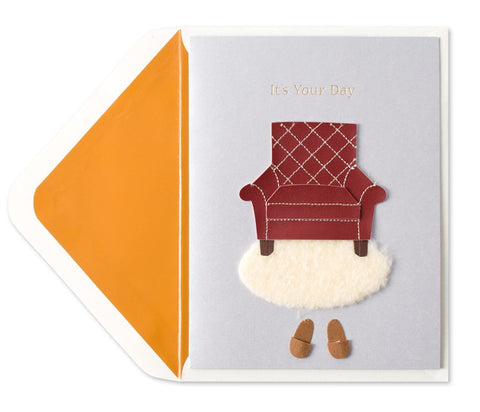 PAPYRUS Faux Leather Chair & Slippers Father's Day Card | CuteKidStuff.com