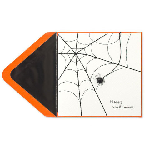 Stitched Web & Glitter Spider: PAPYRUS Greeting Card