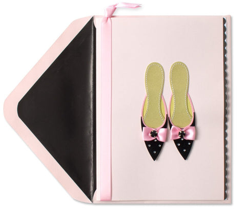 PAPYRUS Pink & Black Slippers Mother's Day Card | CuteKidStuff.com