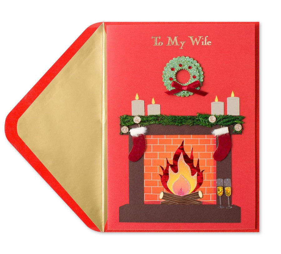 toasty fireplace for wife papyrus greeting card