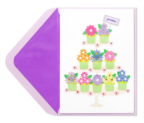PAPYRUS Tiers of Potted Flowers (For Grandma) Mother's Day Card | CuteKidStuff.com