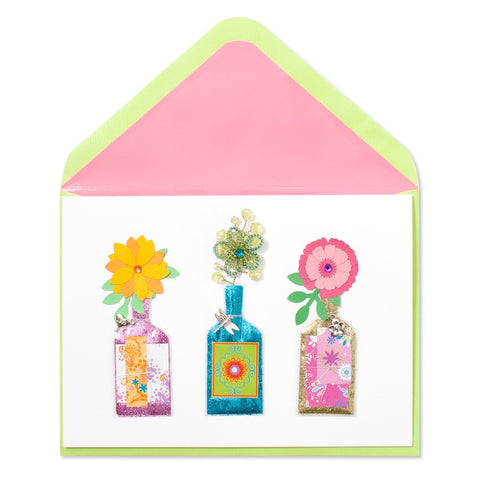 PAPYRUS Bottles with Handmade Flowers Mother's Day Card | CuteKidStuff.com