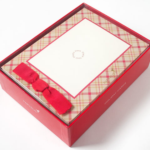 PAPYRUS Boxed Red & Cream Plaid with Bow Photo Cards | CuteKidStuff.com