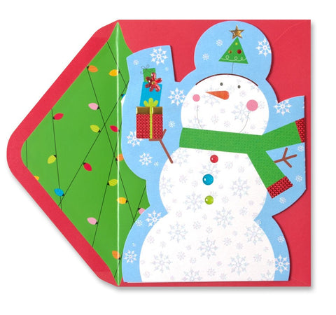 Z Fold Snowmen with Gift: PAPYRUS Greeting Card