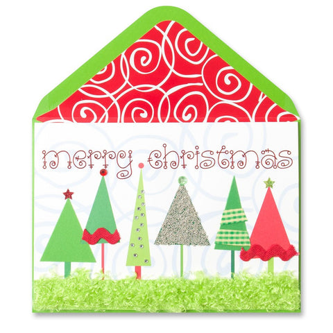 PAPYRUS Greeting Card: Row of Trees with Ribbon | CuteKidStuff.com