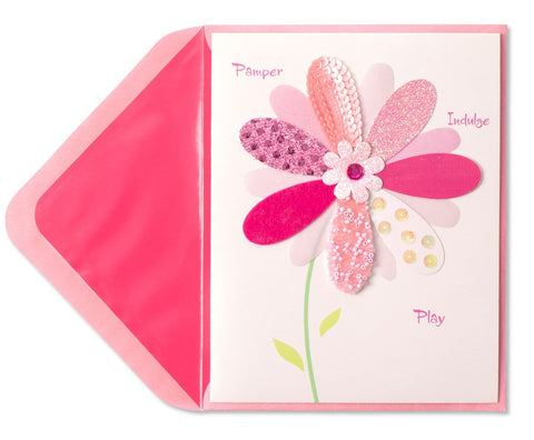 PAPYRUS Pink Sequin Daisy Mother's Day Card | CuteKidStuff.com