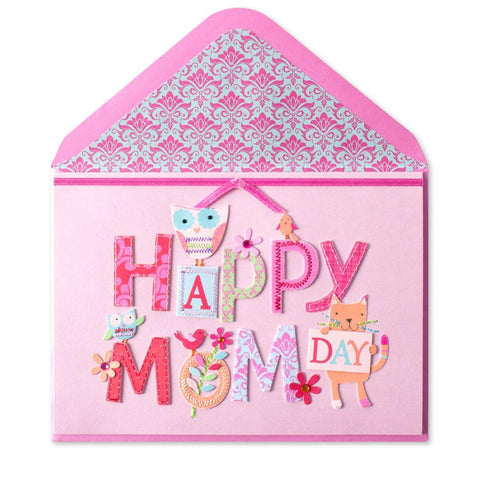"PAPYRUS ""Happy Mom Day"" Whimsy Animals Mother's Day Card 