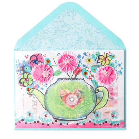 PAPYRUS Teapot with Fabric Flowers Mother's Day Card | CuteKidStuff.com