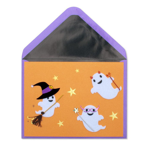 Cute Handmade Ghosts in Costume: PAPYRUS Greeting Card