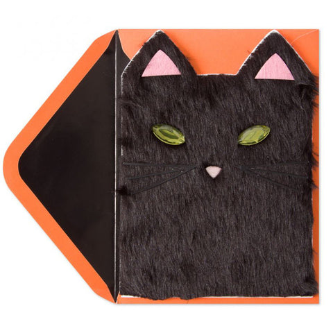 Handmade Furry Cat Face: PAPYRUS Greeting Card