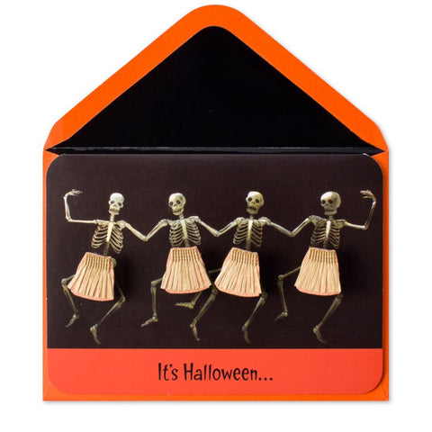 Handmade Hula-Ween Dancing Skeletons: PAPYRUS Greeting Card