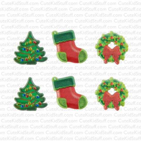 Trees, Stockings & Wreaths (Rings, 6Pk)