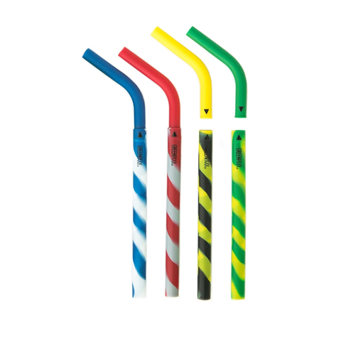 Greenpaxx Reusable Silicone Straws: Athletic Stripes