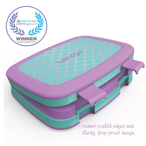 Bentgo Kids Prints - Children's Bento Box: Mermaid Scales (Aqua/Orchid)