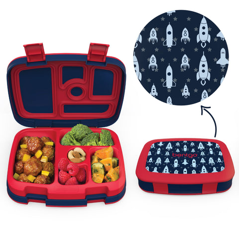 Bentgo Kids Prints - Children's Bento Box: Rocket (Red/Navy)