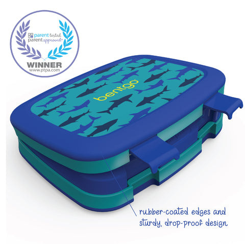 Bentgo Kids Prints - Children's Bento Box: Shark (Blue/Teal)