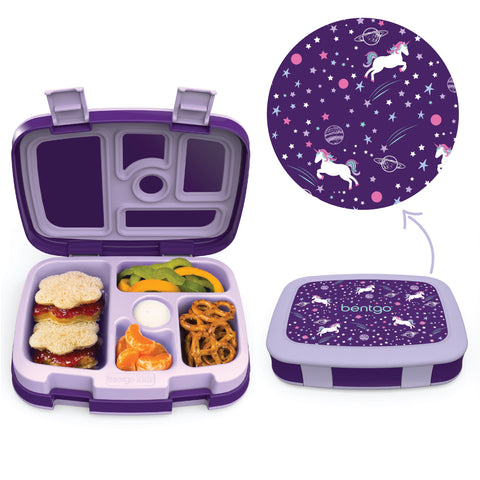 Bentgo Kids Prints - Children's Bento Box: Unicorn (Purple)