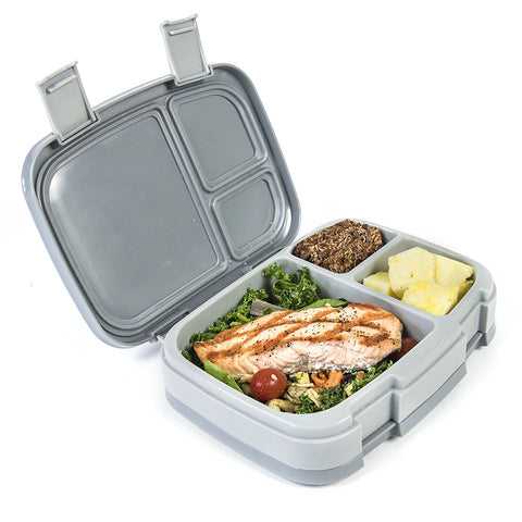 Bentgo Fresh - LARGER 4-Compartment Leakproof Lunch Box: Gray