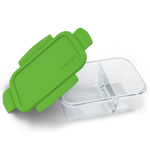 Bentgo Glass Snack Green: 2-Compartment Glass Container with Leak-Proof Lid