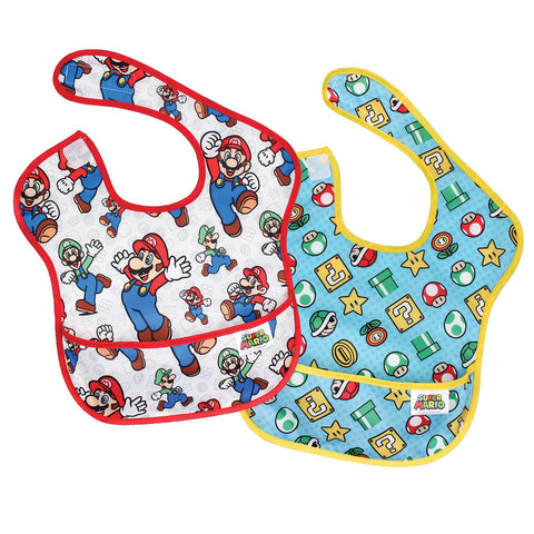 Bumkins Nintendo Waterproof Superbib 2-Pack, Super Mario Expressions: Classic/Icons