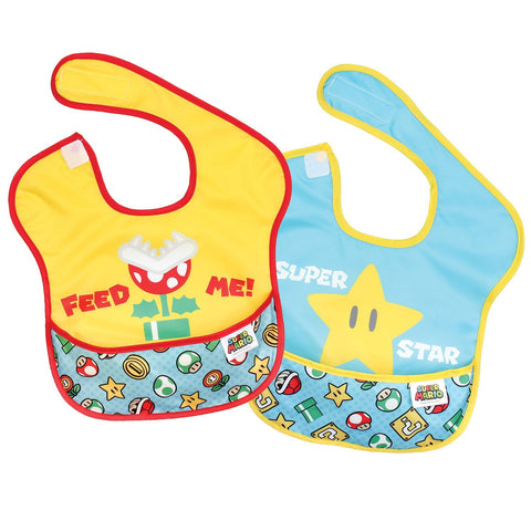 Bumkins Nintendo Waterproof Superbib 2-Pack, Super Mario Expressions: Feed Me/Superstar