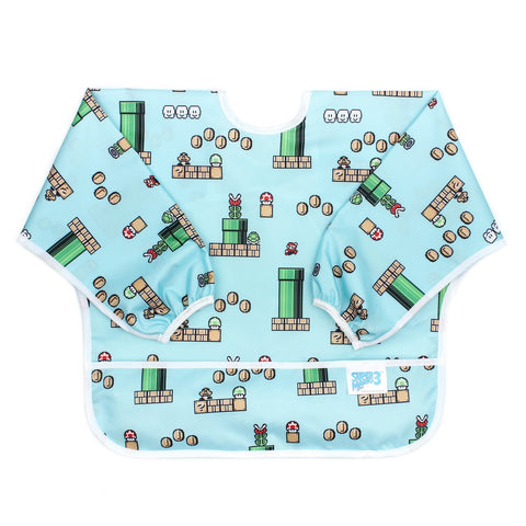 Bumkins Nintendo Waterproof Sleeved Bib: Super Mario 8-Bit Game