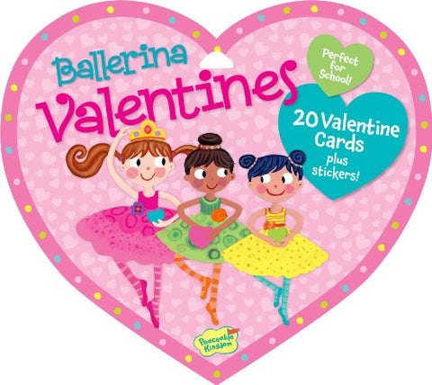 Peaceable Kingdom BALLERINA Valentine Heart Pack (20 Cards & 48 Stickers)