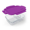 Bentgo Glass Purple: 3-Compartment Glass Container with Leak-Proof Lid