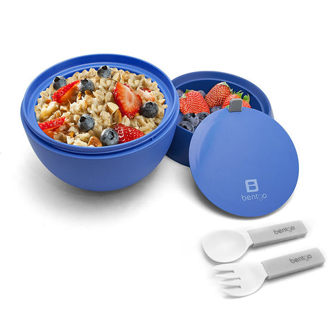 Bentgo Bowl - Insulated Leakproof Lunch Container & Retractable Utensils Set: Blue