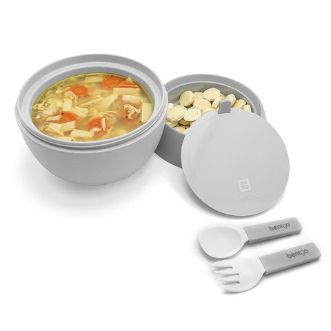 Bentgo Bowl - Insulated Leakproof Lunch Container & Retractable Utensils Set: Grey