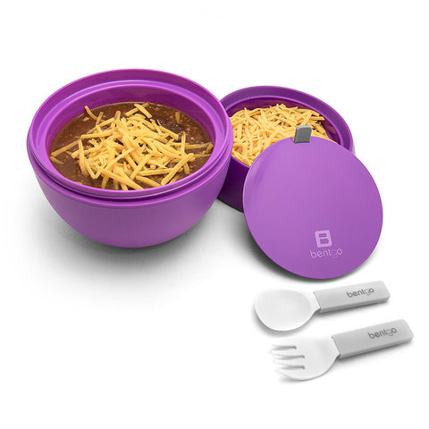 Bentgo Bowl - Insulated Leakproof Lunch Container & Retractable Utensils Set: Purple