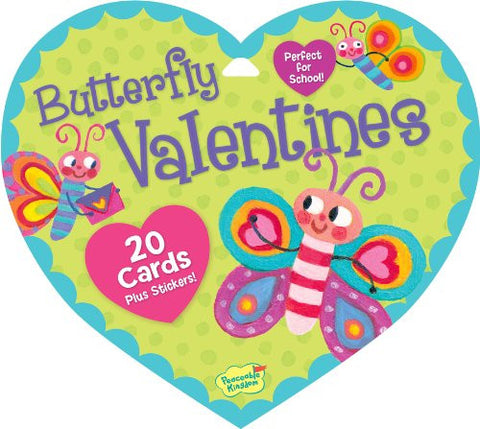 Peaceable Kingdom BUTTERFLY Valentine Heart Pack (20 cards & 48 Stickers) | CuteKidStuff.com