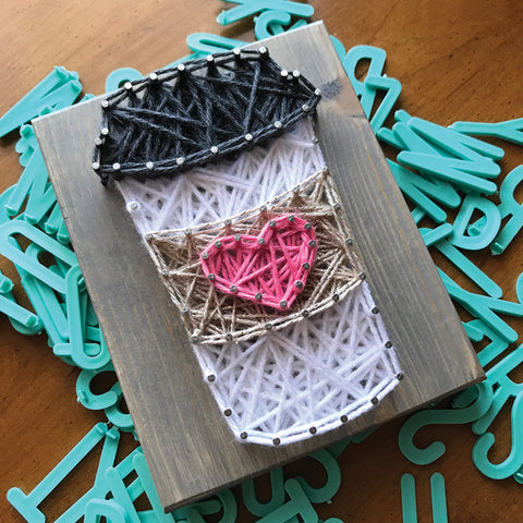 DIY Mini String Art Kit: Coffee
