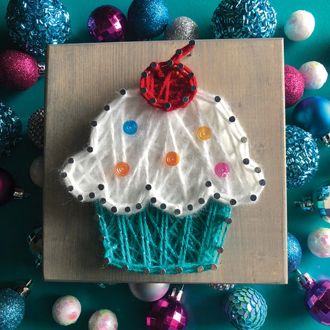 DIY Mini String Art Kit: Cupcake