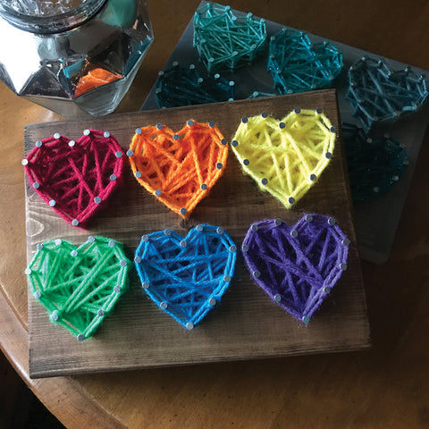 DIY Mini String Art Kit: Six Hearts