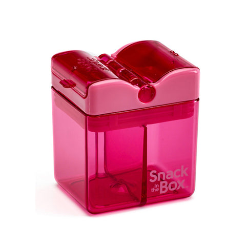 Snack-in-the-Box (NEW DESIGN!) Reusable Dual-Compartment Snack Box: Pink
