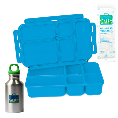 Go Green 5-Compartment Leakproof Lunch Box Set: BLUE