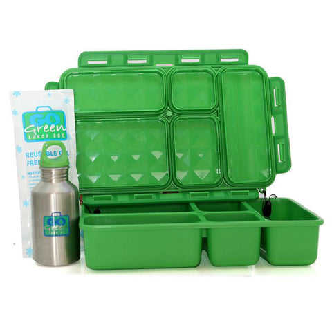 Go Green 5-Compartment Leakproof Lunch Box Set: GREEN
