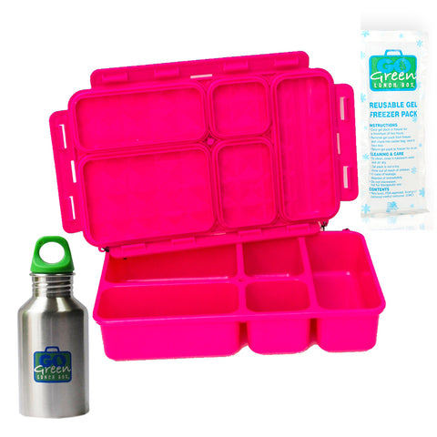 Go Green 5-Compartment Leakproof Lunch Box Set: PINK